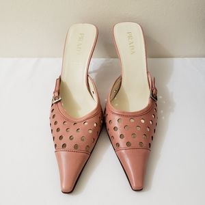 50% off Prada Vintage Pink Leather Mules